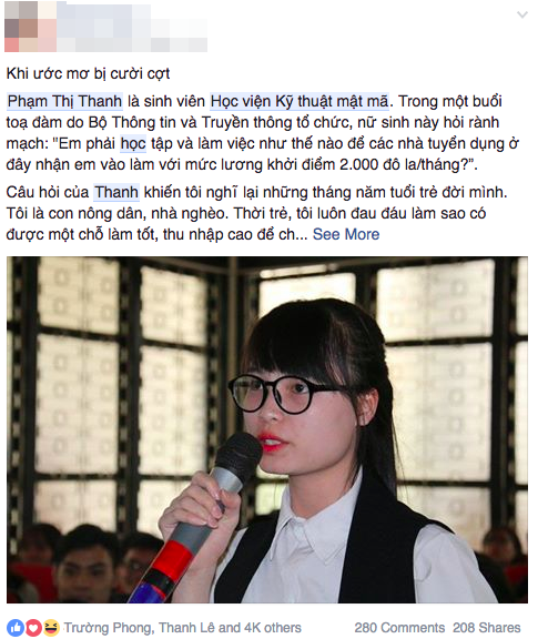 Một trong những bình luận về câu hỏi của sinh viên Phạm Thị Thanh nhận được nhiều sự quan tâm của cộng đồng mạng.