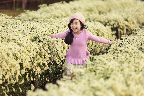Hình ảnh đẹp của bé Tuệ Minh bên vườn cúc họa mi