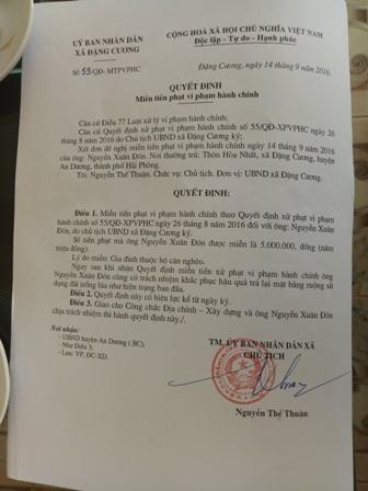 Sau khi báo Dân trí phản ánh, quyết định xử phạt sai quy định của UBND xã Đặng Cương đã bị thu hổi