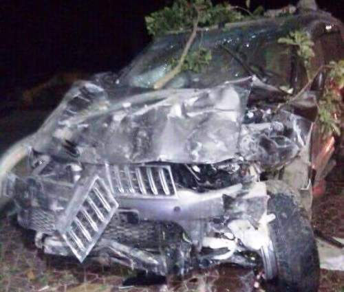 Chiếc xe nát bét sau khi gây tại nạn khiến 2 người tử vong (ảnh: CTV)