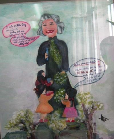 Hình tượng cô Đàm Lê Đức trong tranh của họa sĩ Đỗ Thiên Hương