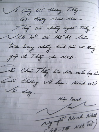 Một học trò khác của GS Hoàng Như Mai ghi lời tiễn biệt thầy.