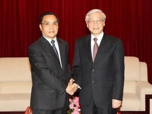 Tổng Bí thư hội kiến với các nhà lãnh đạo của Lào - 1