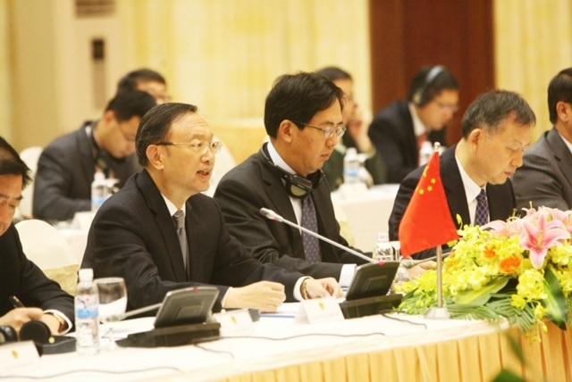 Ủy viên Quốc vụ Trung Quốc Dương Khiết Trì tại phiên họp sáng nay (Ảnh Hữu Nghị)