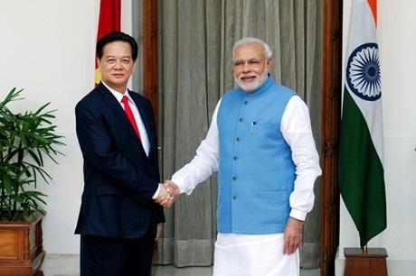 Thủ tướng Nguyễn Tấn Dũng và Thủ tướng Ấn Độ Narendra Modi. Ảnh VGP/Nhật Bắc. Ảnh: VGP