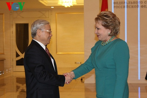 Tổng Bí thư Nguyễn Phú Trọng hội kiến Chủ tịch Hội đồng Liên bang Nga - Valentina Matviyenko.