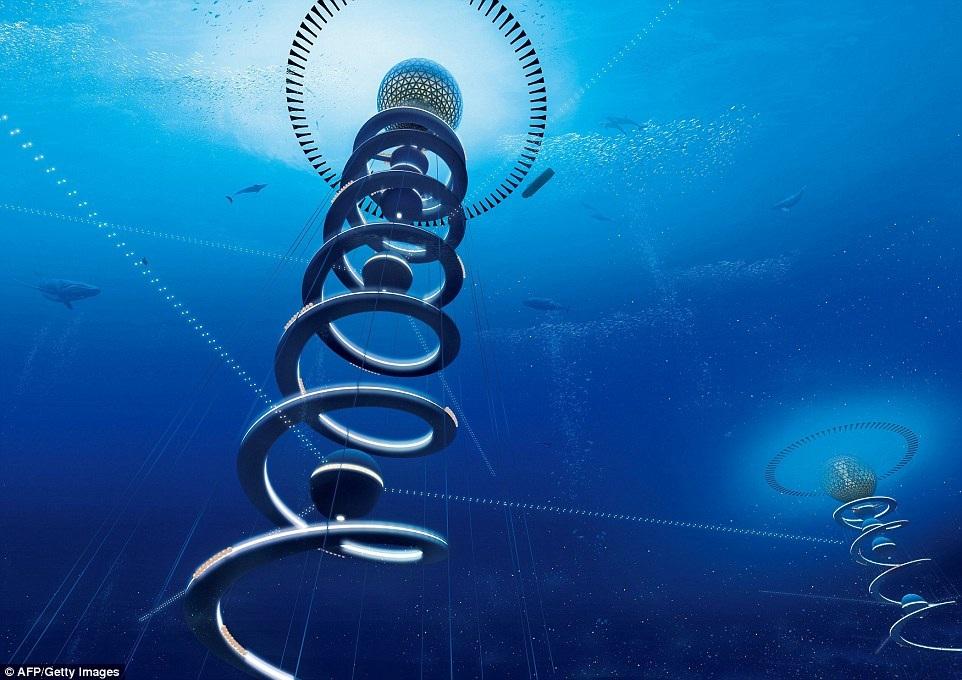 Khối cầu sẽ được nối với hệ thống ống hình xoắn ốc có tổng chiều dài 15km
