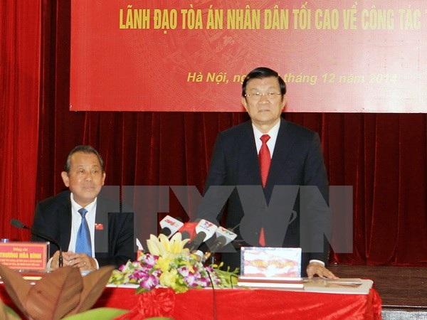 Chủ tịch nước Trương Tấn Sang phát biểu tại buổi làm việc. Ảnh: Nguyễn Khang/TTXVN