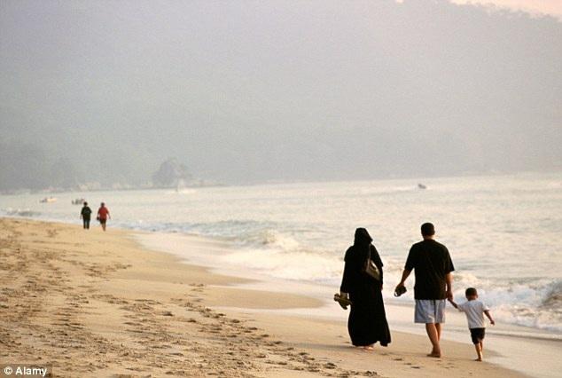 Một gia đình người Ả Rập Xê-út đi dạo trên bãi biển ở Penang, Malaysia