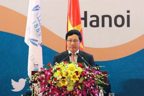 Phó Thủ tướng Phạm Bình Minh phát biểu tại phiên họp của IPU-132 chiều 30/3