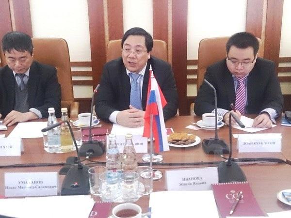 Đại sứ Nguyễn Thanh Sơn (giữa). (Ảnh: Duy Trinh/Vietnam+)