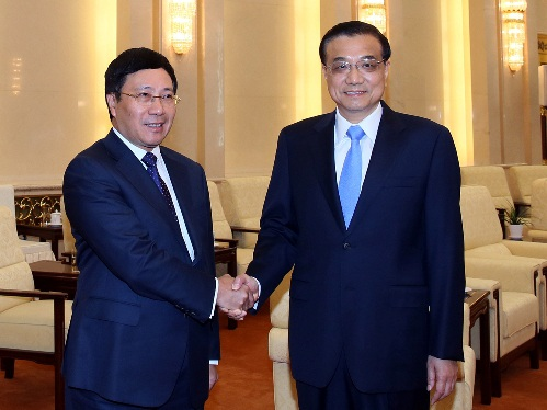 Phó Thủ tướng Phạm Bình Minh và Ủy viên Quốc vụ Dương Khiết Trì (Ảnh: VGP/Hải Minh)
