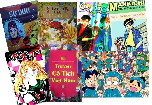 Bìa những cuốn truyện tranh vui nhưng nhảm đang phát hành rất nhiều trên thị trường