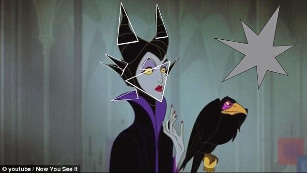 """Một trong những nhân vật """"sắc nhọn"""" nhất phải kể đến tiên hắc ám Maleficent trong """"Sleeping Beauty"""" (Người đẹp ngủ trong rừng - 1959). Có thể thấy ngay rằng các đường nét gương mặt và ngay cả trang phục của nhân vật này đều chứa đựng những nét sắc nhọn."""