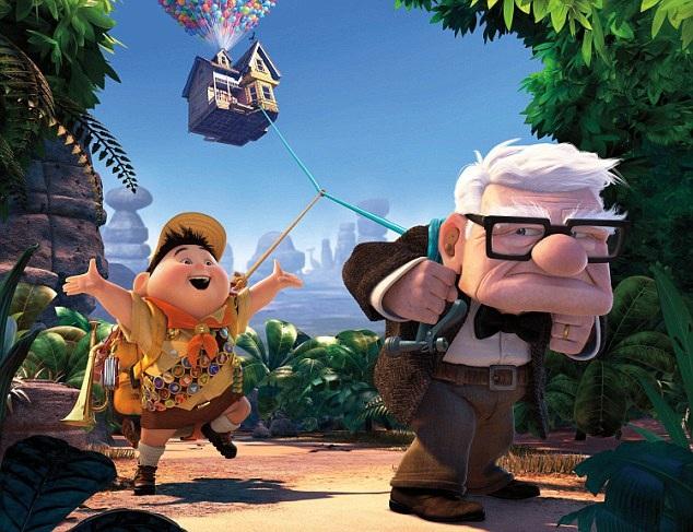 """Một ví dụ khác của gương mặt vuông là nhân vật ông cụ Carl Fredricksen (phải) trong bộ phim """"Up"""" (Vút bay). Nhân vật Carl là một ông cụ khá… ương gàn và người xem có thể nhanh chóng nhận ra điều này từ gương mặt vuông góc cạnh của ông. Ngược lại, cậu bé Russell (trái) có tính cách vui vẻ, đáng yêu được khắc họa với những nét tròn mềm mại."""