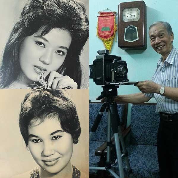 Nhiếp ảnh gia Đinh Tiến Mậu bên chiếc máy ảnh chụp nghệ sĩ Thanh Nga (trên) và danh ca Thái Thanh (dưới). Ảnh: HÒA BÌNH