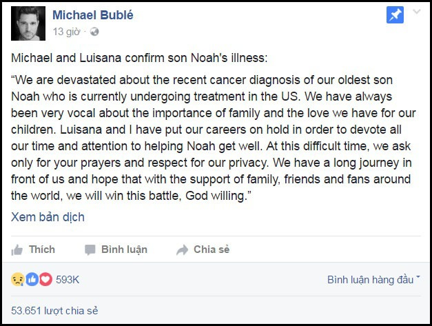 Nam ca sĩ 41 tuổi và vợ đã chính thức xác nhận thông tin tình trạng sức khỏe của cậu con trai nhỏ thông qua trang cá nhân. Sắp tới, các hoạt động biểu diễn của cả hai người sẽ tạm ngưng.