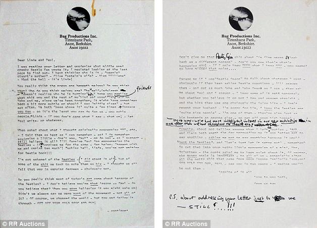 Lá thư được đánh máy có bao gồm cả những nét chữ viết tay của John Lennon đã cho thấy sự bất đồng lớn giữa John và Paul sau khi The Beatles tan rã.