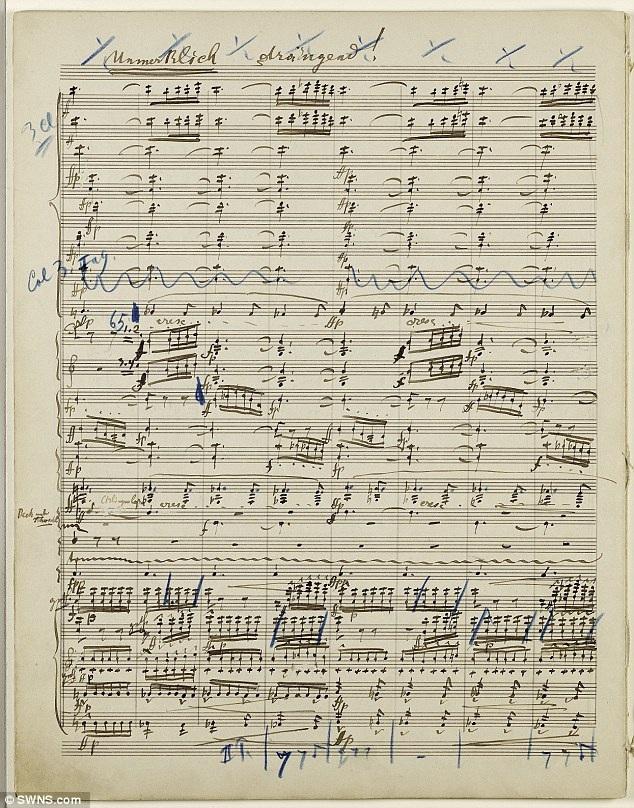 Bản nhạc viết tay vẫn còn nguyên vẹn, chưa từng qua phục chế, các trang vẫn tách rời, bao gồm cả những tẩy xóa, sửa chữa và ghi chú do chính tay nhà soạn nhạc người Áo viết vào.