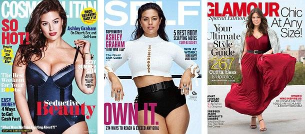 """Người mẫu """"béo"""" Ashley Graham - một nhan sắc đình đám trong giới người mẫu """"quá khổ"""" - đã góp phần đưa lại cái nhìn mới mẻ về chân dung người mẫu, đặc biệt, giúp cách nhìn của truyền thông và công chúng đối với người mẫu """"thừa cân"""" cũng trở nên tích cực hơn."""