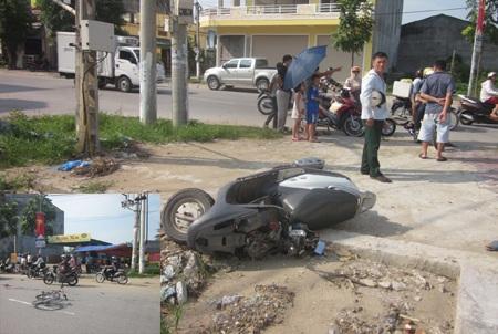Hiện trường vụ tai nạn tại thành phố Vinh khi xe máy tay ga tông xe đạp làm một học sinh bị thương.