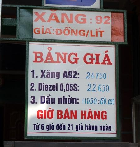 Giá xăng dầu tại cửa hàng Quang Minh