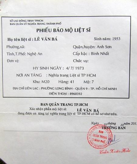 Phiếu báo mộ liệt sĩ Lê Văn Bá tại nghĩa trang TPHCM.