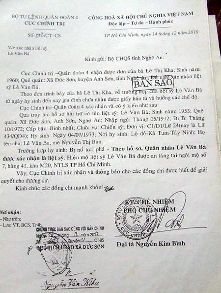Văn bản xác nhận quân nhân Lê Văn Bá là liệt sĩ của của Bộ tư lệnh Quân đoàn 4.