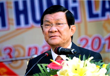 Chủ tịch nước Trương Tấn Sang phát biểu tại buổi lễ long trọng.