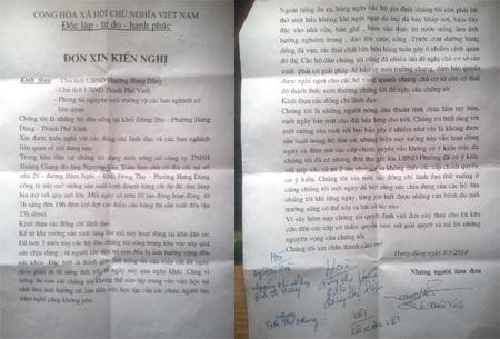 Đơn kiến nghị của các hộ dân gửi tới VP Báo điện tử Dân trí thường trú tại Nghệ An.