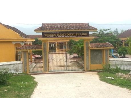 Trường Mầm non xã Xuân Lĩnh (huyện Nghi Xuân, Hà Tĩnh)nơi bà Đinh Thị Hồng Vân công tác.