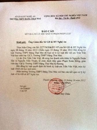 Báo cáo của trường THPT Đặng Thai Mai về việc kỳ luật em Trần Văn Việt một năm học.