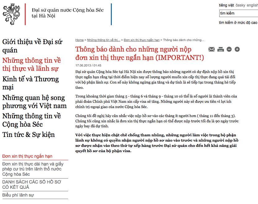 Thông báo của ĐSQ Cộng hoà Séc tại Hà Nội dành cho những người nộp đơn xin thị thực ngắn hạn