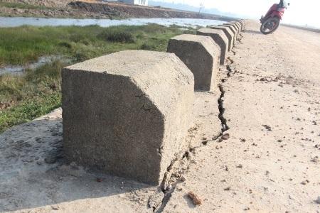 Nhiều đoạn đê bị nứt toác, kéo dài hàng chục mét như thế này