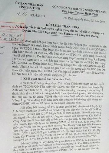 Kết luận của UBND tỉnh Hà Tĩnh về sai phạm của UBND huyện Kỳ Anh trong việc cấp nhầm 172 lô đất.