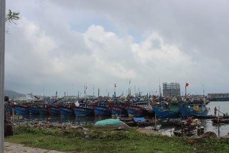 Tàu thuyền ngư dân miền Trung vào bờ tránh, trú áp thấp nhiệt đới