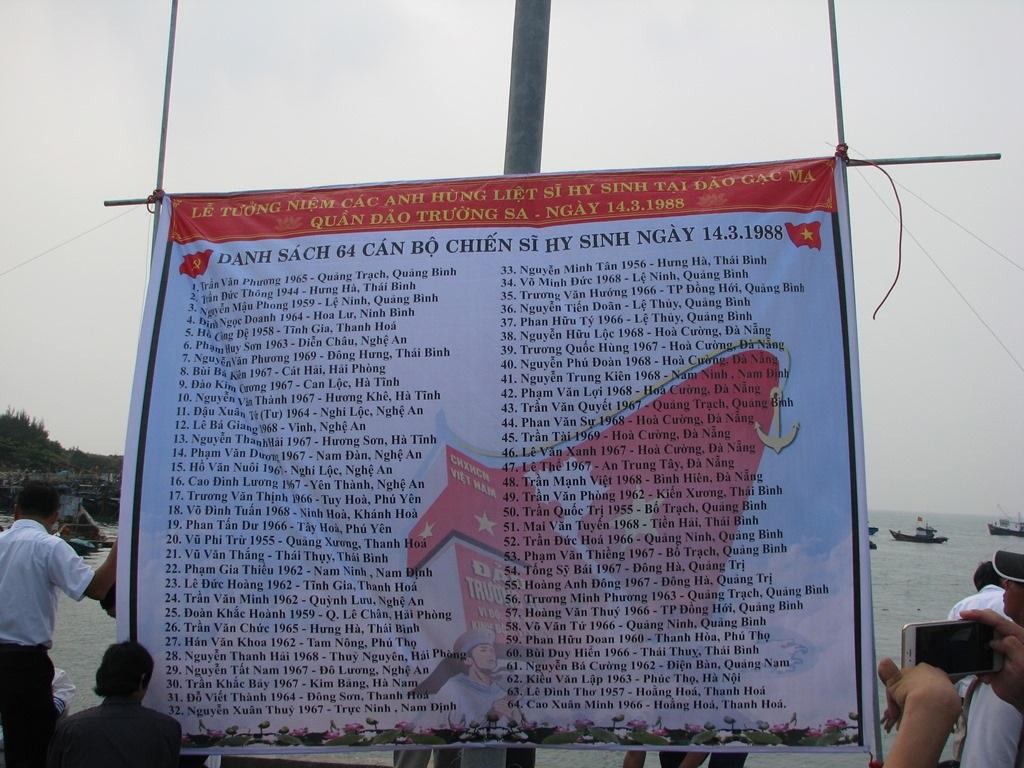 Danh sách 64 cán bộ, chiến sĩ đã hy sinh tại Gạc Ma