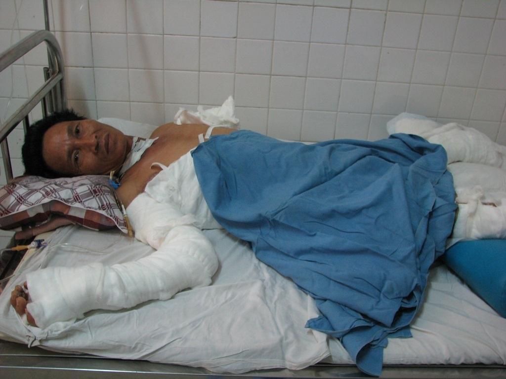 Anh Thái đang được điều trị tại Bệnh viện Đà Nẵng