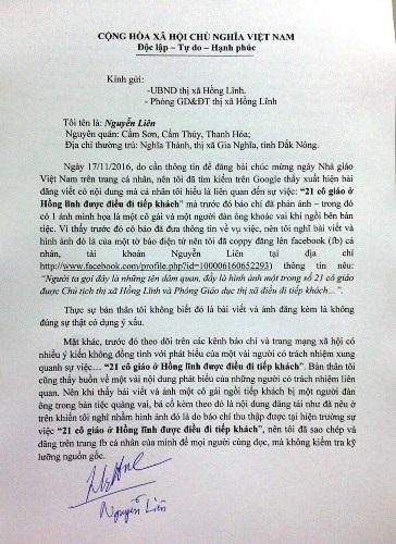 Thư xin lỗi của ông Nguyễn Liên gửi cho cán bộ và giáo viên thị xã Hồng Lĩnh