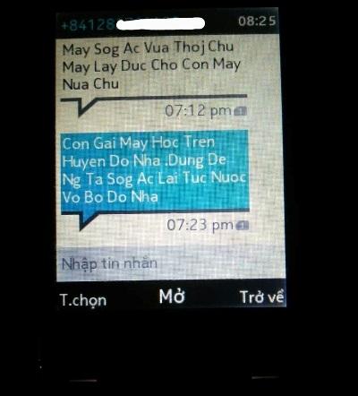 Tin nhắn lấy con gái anh Hào ra đe dọa