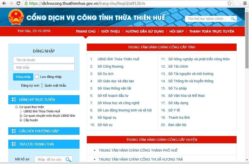 Giao diện Cổng dịch vụ công tỉnh Thừa Thiên Huế
