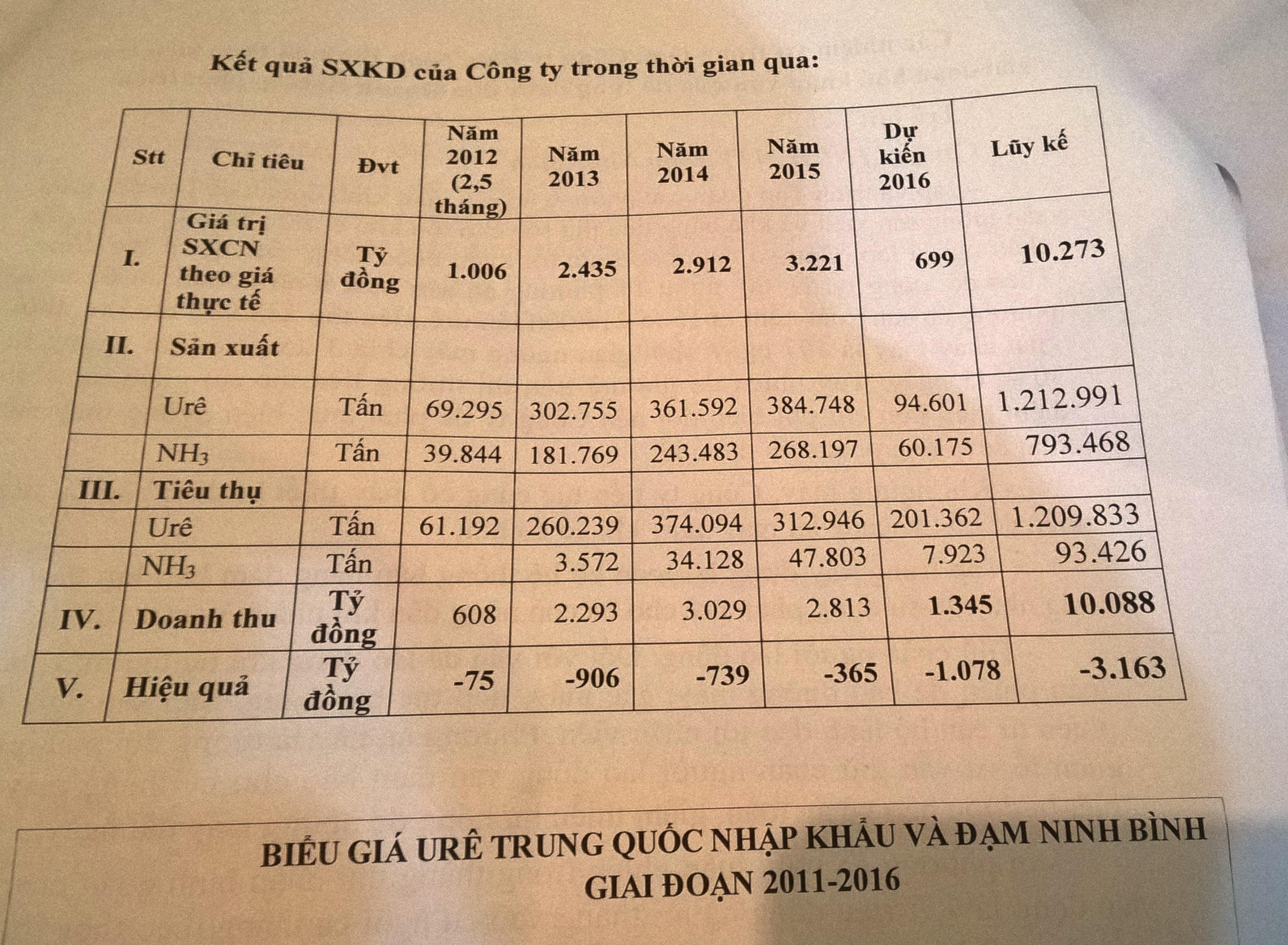Bảng kết quả doanh thu từ năm 2012 - 2016 của Đạm Ninh Bình (Đạm Ninh Bình cung cấp)