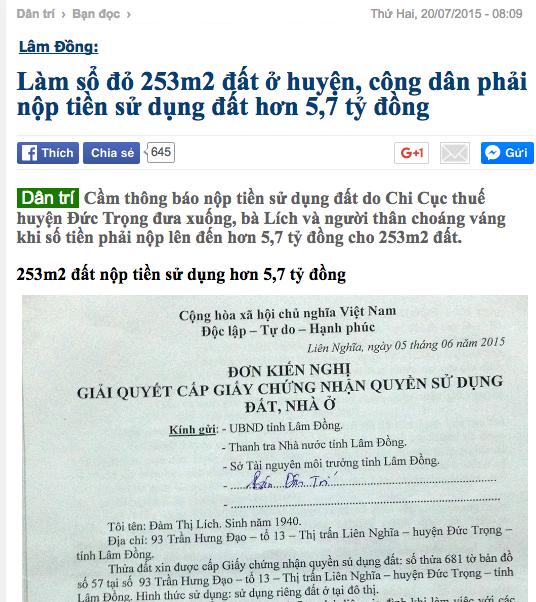 Đầu tháng 7/2015, Báo Dân trí nhận được đơn cầu cứu của cụ Đàm Thị Lích và có bài viết phản ánh đầu tiên đăng tải ngày 20/7/2015.