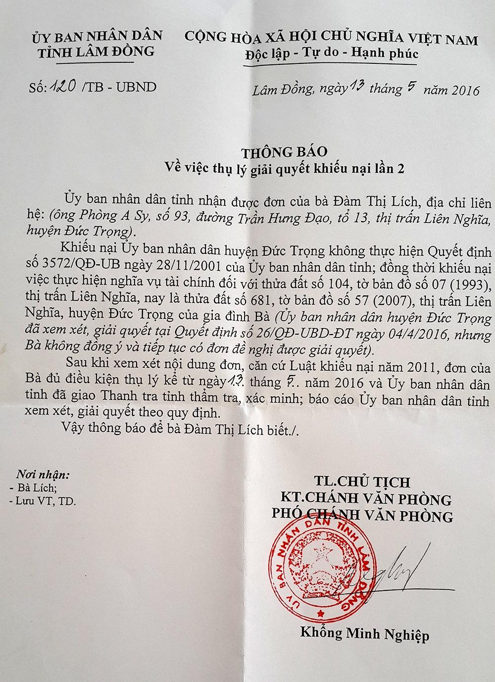 Thông báo thụ lý đơn khiếu nại của UBND tỉnh Lâm Đồng gửi đến gia đình cụ Lích