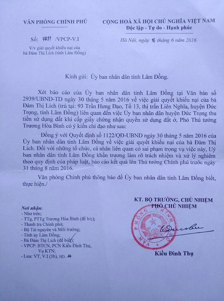 Văn bản của Văn phòng Chính phủ truyền đạt ý kiến chỉ đạo của Phó Thủ tướng Trương Hòa Bình yêu cầu UBND tỉnh Lâm Đồng khẩn trương làm rõ trách nhiệm và xử lý nghiêm theo quy định của pháp luật, báo cáo kết quả lên Thủ tướng Chính phủ trước ngày 31/8/2016