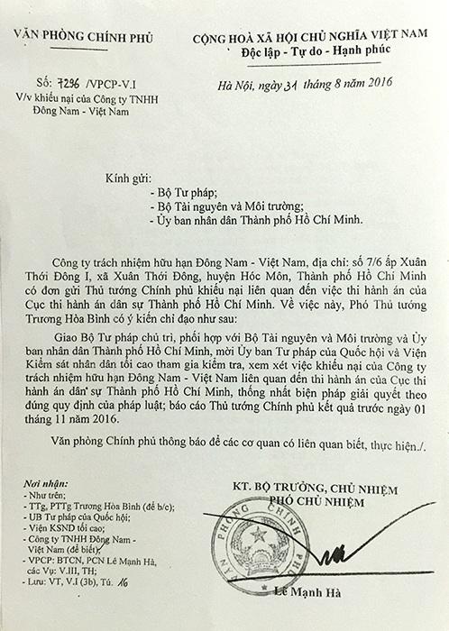 Phó Thủ tướng Trương Hòa Bình đã có văn bản giao các cơ quan liên quan làm rõ vụ thi hành án dân sự khiến doanh nghiệp bức xúc.