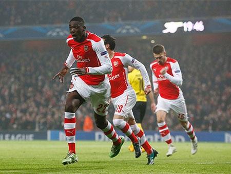 Niềm hạnh phúc lớn của Sanogo khi có bàn thắng mở tỉ số