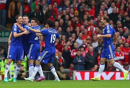 Các cầu thủ Chelsea ăn mừng bàn thắng của Cahill