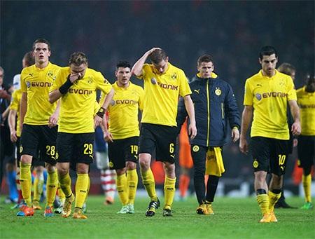 Nỗi buồn của các cầu thủ Dortmund sau khi thua trận