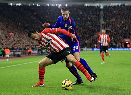 Các cầu thủ MU đã lép vế hơn Southampton cả về thời gian kiểm soát bóng bóng và số cú sút cầu môn